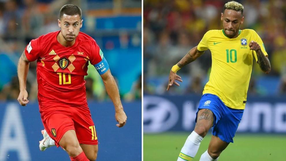 Hazard y Neymar durante el Mundial de Rusia