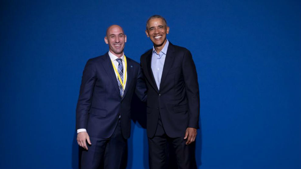 Luis Rubiales, junto a Barack Obama
