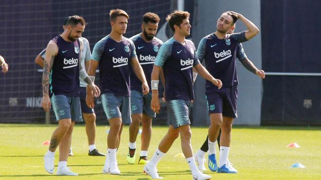 Los jugadores del Barça, en el primer entrenamiento del curso.