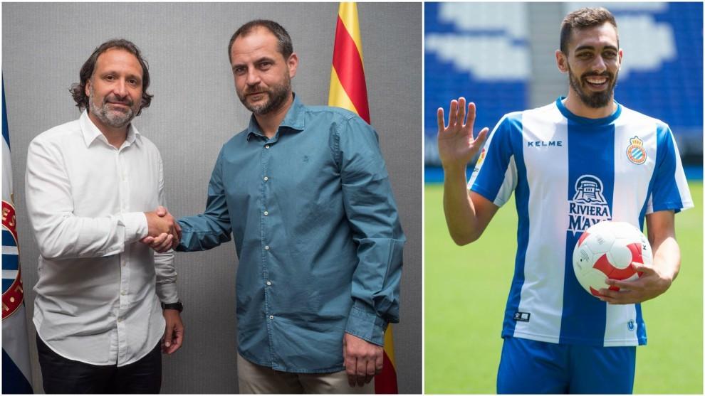 Rufete y Perarnau, en la firma del contrato  / Borja Iglesias, en su...