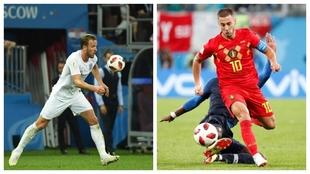 Harry Kane (Inglaterra) y Eden Hazard (Bélgica)