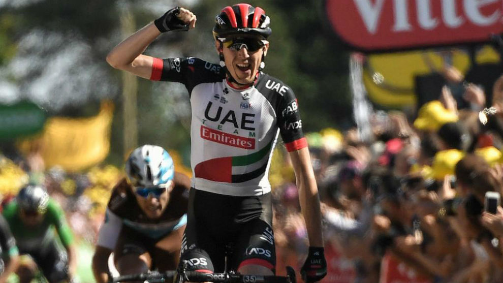 Daniel Martin celebrando en meta su triunfo en el Tour de Francia.