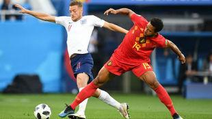 Vardy y Dembele, durante el partido Bélgica-Inglaterra de la fase de...