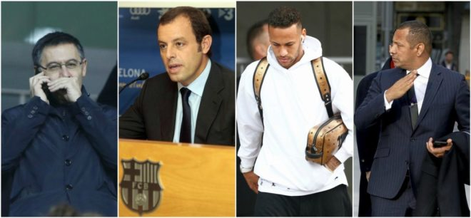 Bartomeu, Rosell, Neymar Jr and his father