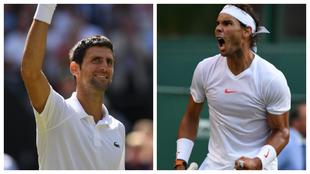 Novak Djokovic y Rafael Nadal celebran sus triunfos en cuartos de...