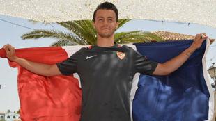Sébastien Corchia posa para MARCA con la bandera de Francia.