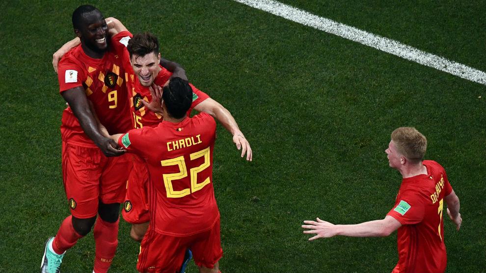Belgium celebrates a goal