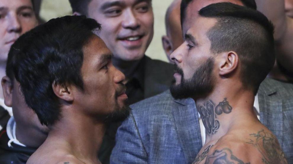 Manny Pacquiao y Lucas Matthysse en el pesaje
