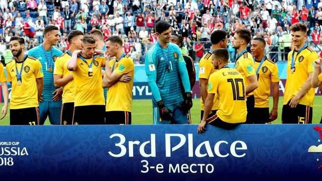 Los jugadores del Bélgica celebran el tercer puesto en el Mundial.