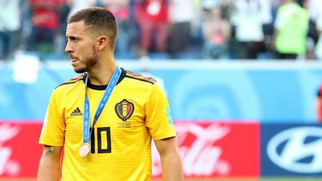 Hazard, con la medalla por el tercer puesto del Mundial.