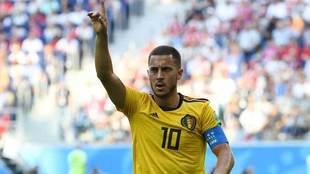 Hazard celebra el tanto que marcó ante Inglaterra.
