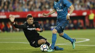 David Soria, en un encuentro frente al Real Madrid