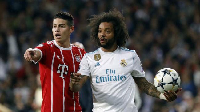 James y Marcelo en el cruce de Champions entre Madrid y Bayern