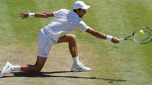 Djokovic se flexiona para devolver una pelota