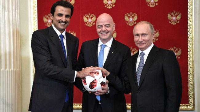 'Sheikh' Tamim bin Hamad Al Thani, emir de Qatar, junto al presidente...