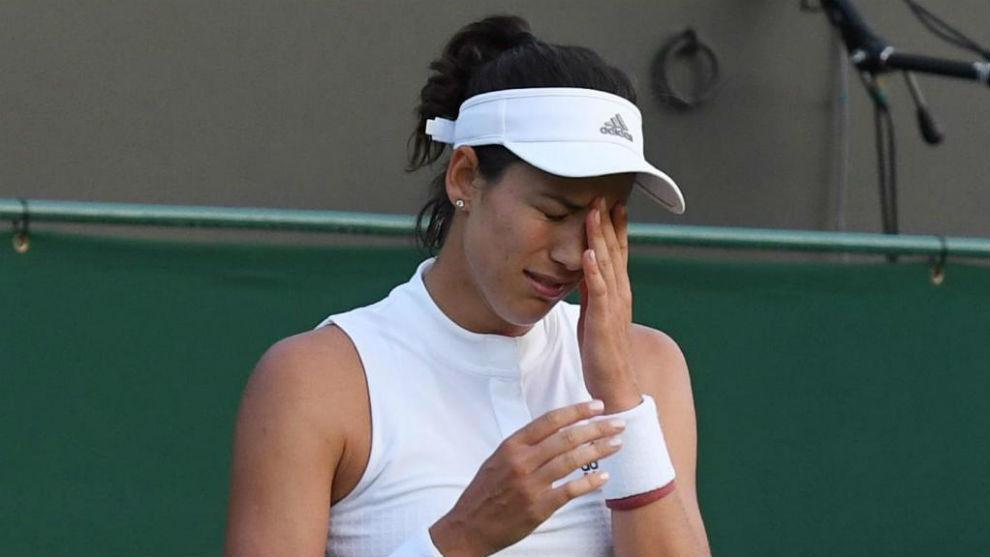 Garbiñe Muguruza tras caer eliminada en Wimbledon.