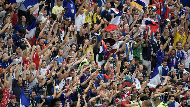France's fans celebrate at the end of the Russia 2018 World Cup final...