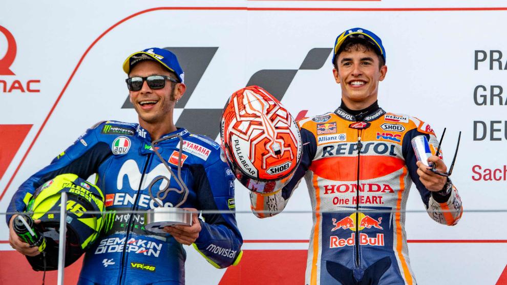 Vuelve el amor entre Marc Márquez y Rossi tras su apretón