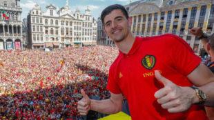 Courtois, en la celebración de Bélgica por el tercer puesto en el...