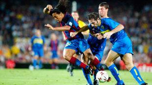 Ronaldinho, durante un Joan Gamper contra Boca Juniors.