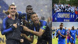 Jugadores de la selección de Francia celebrando la victoria en el...