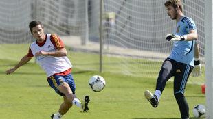 Sarabia y De Gea, con la Selección española sub 21.