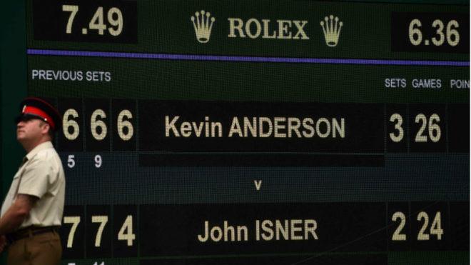 Marcador que recoge el tanteo de la semifinal entre Isner y Anderson