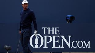 Tiger Woods durante la ronda de práctica de The Open.