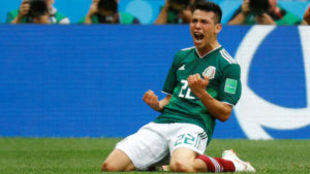 Chucky Lozano festeja su gol ante Alemania.