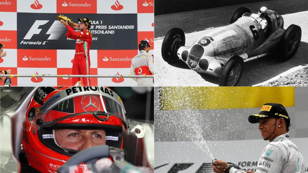 Alonso, Caracciola, Schumacher y Hamilton