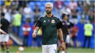 Layún, en un partido con la selección mexicana en el Mundial.