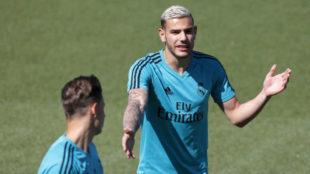 Theo, en un entrenamiento del Madrid.