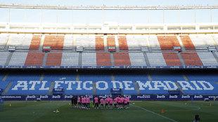 Uno de los últimos entrenamientos del Atlético de Madrid en el...