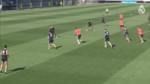 Borja Mayoral scores skilful goal during Real training