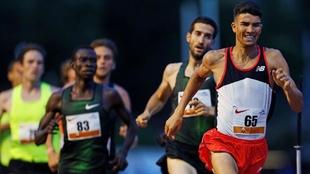 Adel Mechaal, durante la prueba de los 1500 metros de la reunión de...