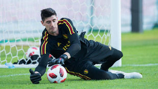 Belgium's goalkeeper Thibaut Courtois attends a training session.