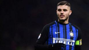 Icardi, en un partido con el Inter la temporada pasada