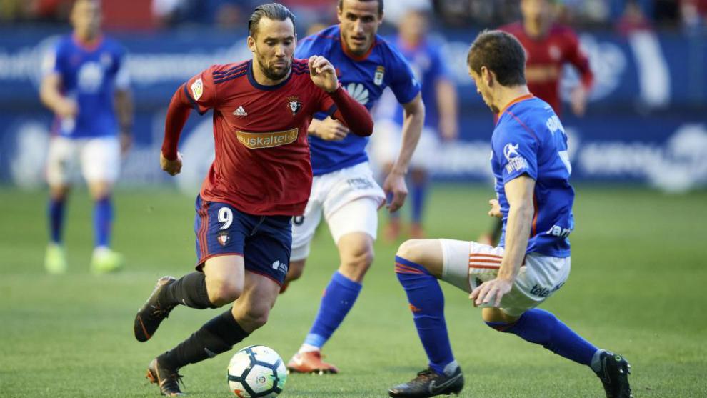 Quique González, durante un partido del Osasuna la pasada temporada