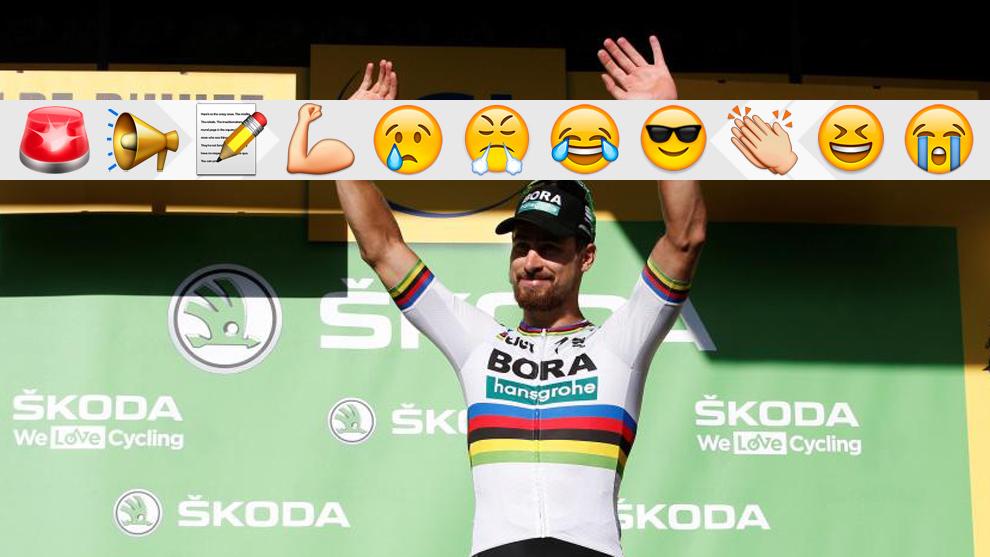 Sagan, en el podio durante este Tour