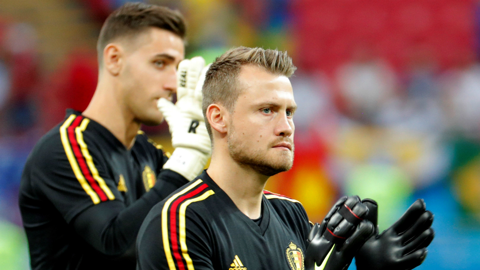 Mignolet and Casteels warming up before the quaterfinal game between...