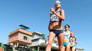 Raquel González, en los 10.000 metros marcha