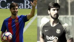 André Gomes en 2016 y en 2018.