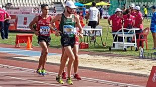 Álvaro Martín, en un momento de la final de los 10.000 metros marcha