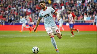 Sergi Gómez (26), en el Atlético-Celta de la temporada pasada.