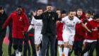 Milan's coach, Gennaro Gattuso, celebrates his team victory against...