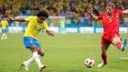 Willian of Brazil in action against Belgium