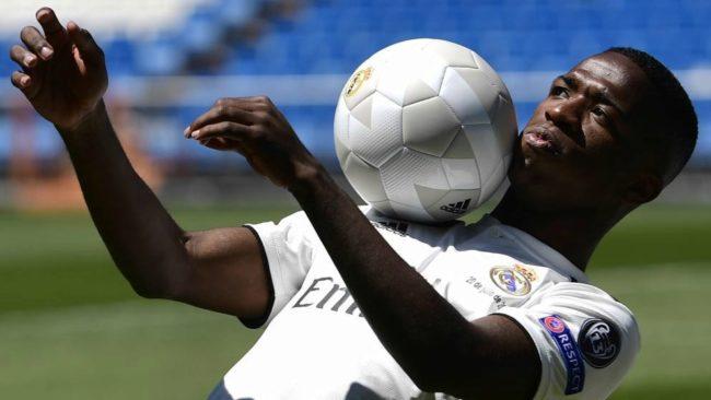 Real Madrid's new Brazilian forward Vinicius Junior controls a ball