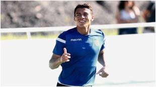 Héctor Moreno, en el entrenamiento de este lunes de la Real Sociedad.