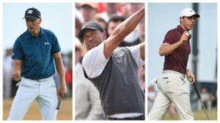 Jordan Spieth, Tiger Woods y Rory McIlroy.