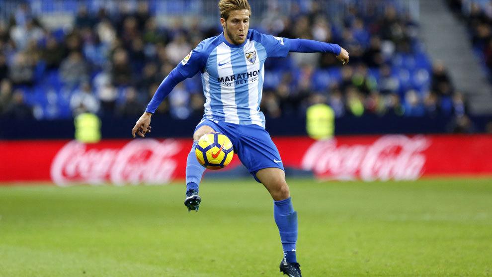 Keko durante un partido con el Málaga de la pasada temporada.